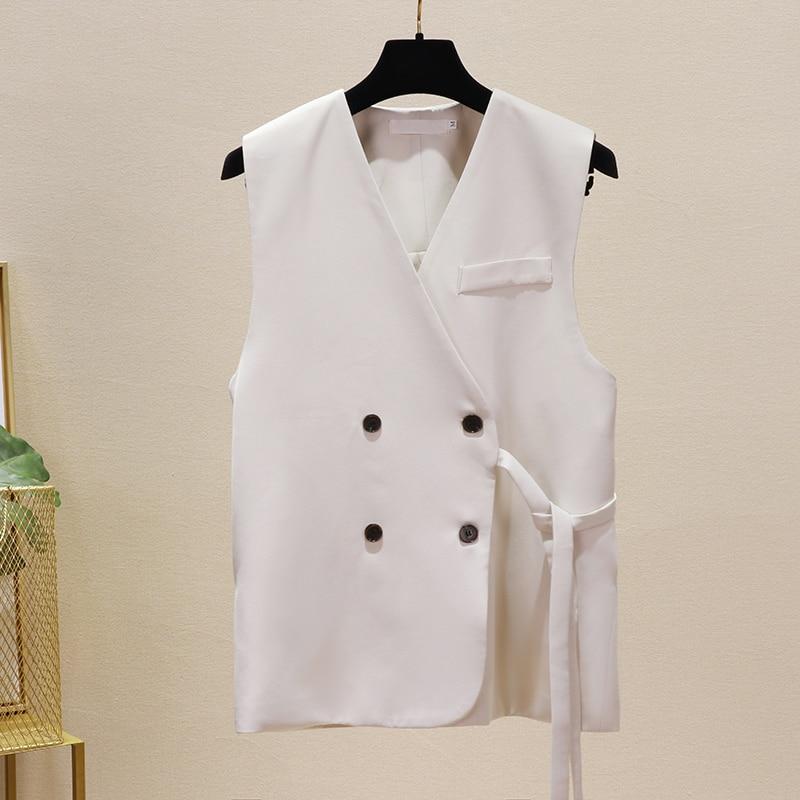 Women Blazer Double Breasted V-neck Waist Belt Sleeveless Suit OL Ladies