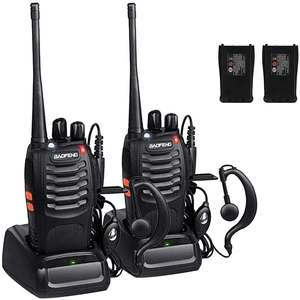 Walkie Long-Range with Original Earpiece Pack-Of-2 Two-Way-Radios BF-888S Two-Way-Radios