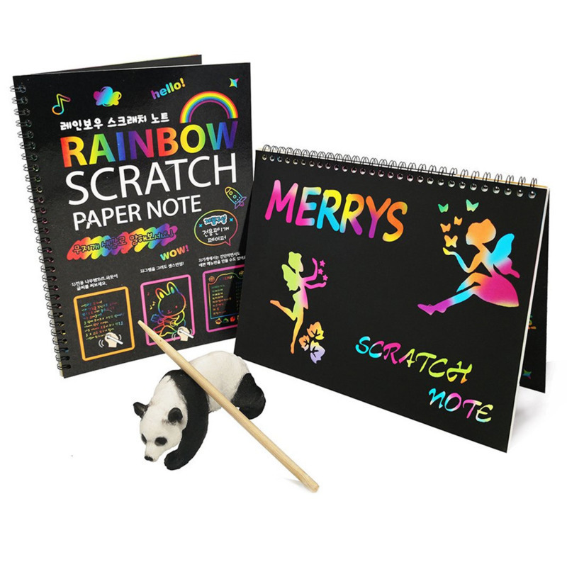 DIY Magic Scratch Art Doodle Drawing Board Notebook Rainbow Color Drawing Toys For Children Kids Painting Educational Toys Gift