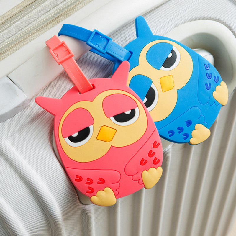 Cartoon Animal Prints Owl Portable Luggage Tags Silica Gel Suitcase Addres Holder Label Baggage Boarding Travel Accessories