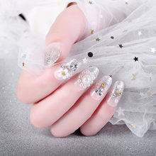 24pcs/boxed Fashion Safety White Pearl Flower in Long Silver Powder Bride Pregnant Woman Photo Wedding Dress press on nail tips(China)