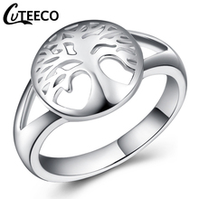 Cuteeco Round Tree Of Life Ring Wedding Jewelry 2019 Fashion Silver Plated Wisdom Rings For Women New Bijoux Gift
