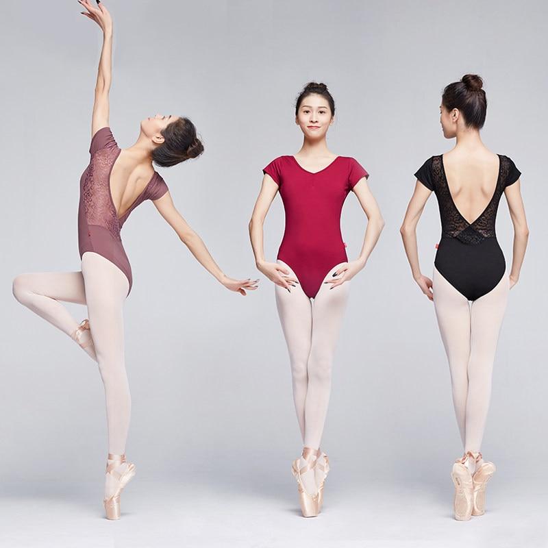 Ladies ballet dance wear Lace key back leotard