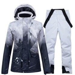 Nouveau Ski costume femmes coupe-vent imperméable respirant chaud hommes en plein air Snowboard vestes + pantalon haute qualité hiver Ski veste