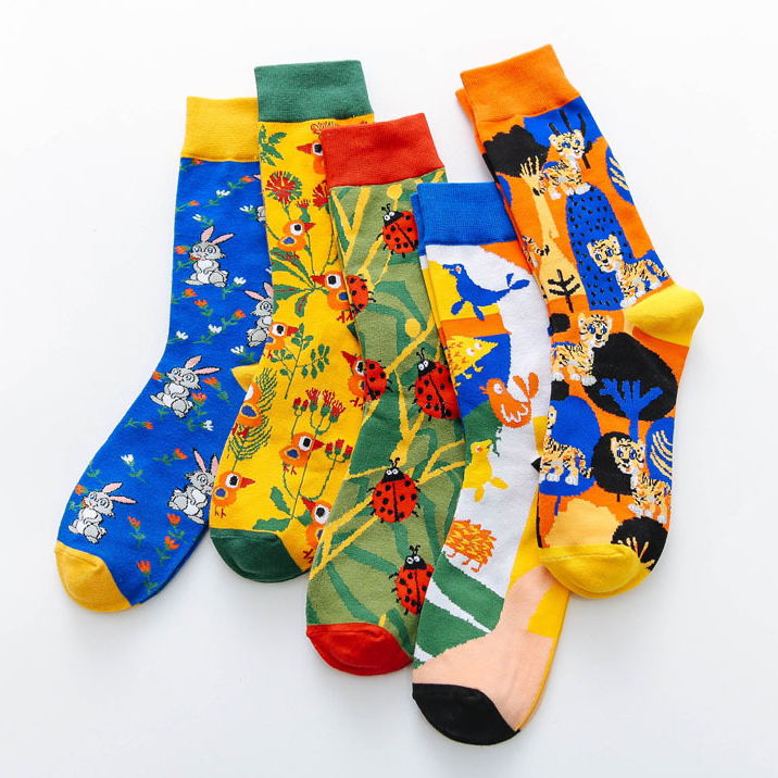 1 Pair Fashion Hot Sale Cute Animal Bunny Bird Tiger Ladybird Cartoon Art Men Women Funny Socks Casual Harajuku Skateboard Socks