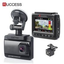 Ruccess 3 в 1 Автомобильный радар-детектор DVR встроенный gps скорость Анти радар двойной объектив Full HD 1296P 170 градусов видео рекордер 1080P