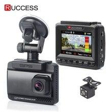 Автомобильный антирадар Ruccess 3 в 1, детектор радара с видеозаписью и встроенным GPS, антирадар скоростного режима с двойной линзой Full HD 1296P, обзором на 170 градусов, видеорегистратор 1080P