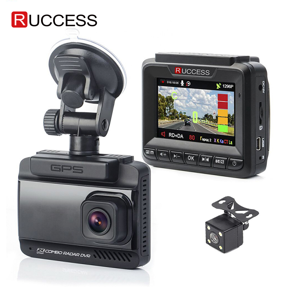 Ruccess 3 in 1 Car Radar Detector DVR Built-in GPS Speed Anti Radar Dual Lens Full HD 1296P 170 Degree Video Recorder 1080P