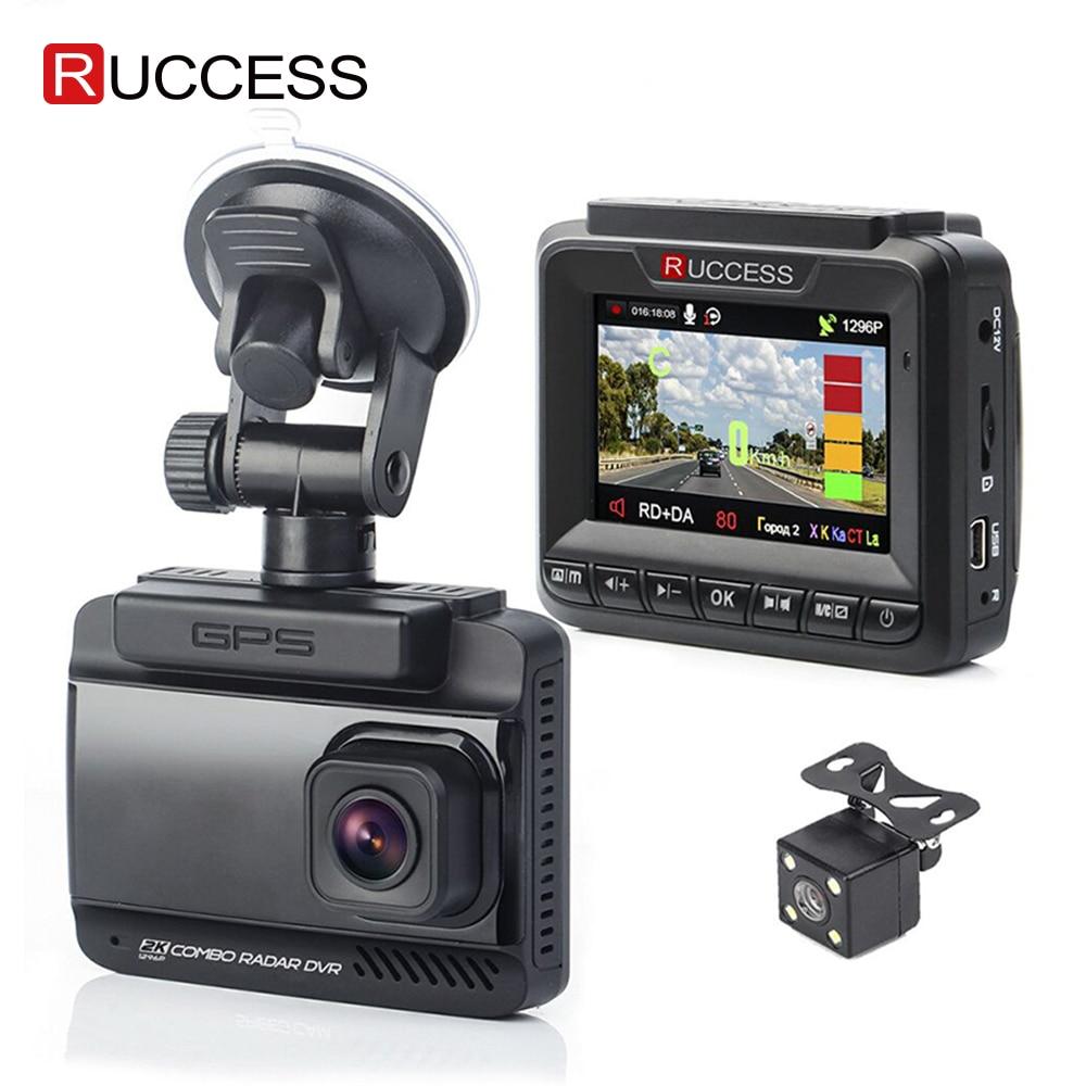 Ruccess 3 In 1 Car Radar Detector DVR Built-in GPS Speed Anti Radar Dual Lens Full HD 1296P 170 Degree Video Recorder 1080P