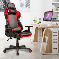 Gaming Chair High Back PU Leather/ Swivel casters/3.5 thick cushion/Headrest and Lumbar Support (Black and red)
