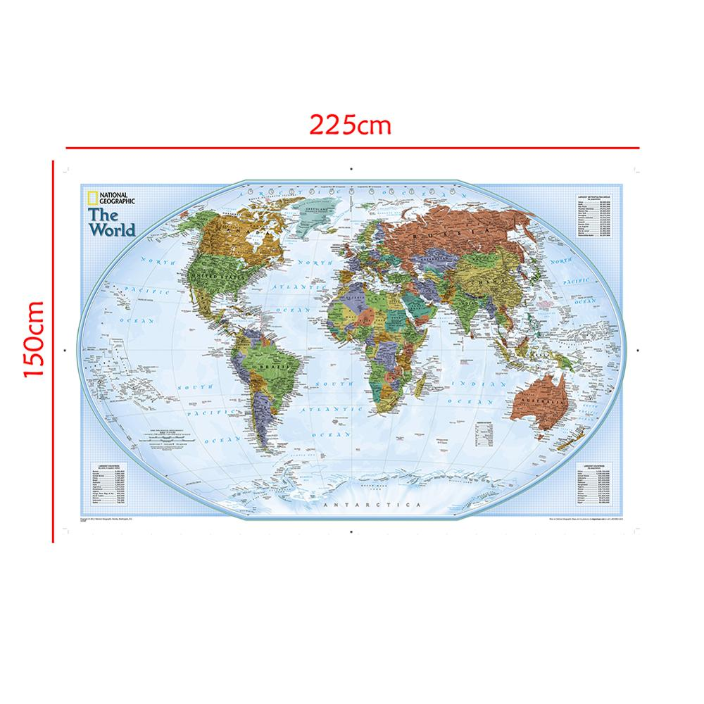 Non-woven Waterproof Map 150x225cm World Map With Important Cities Of Various Countries Marked Without National Flag