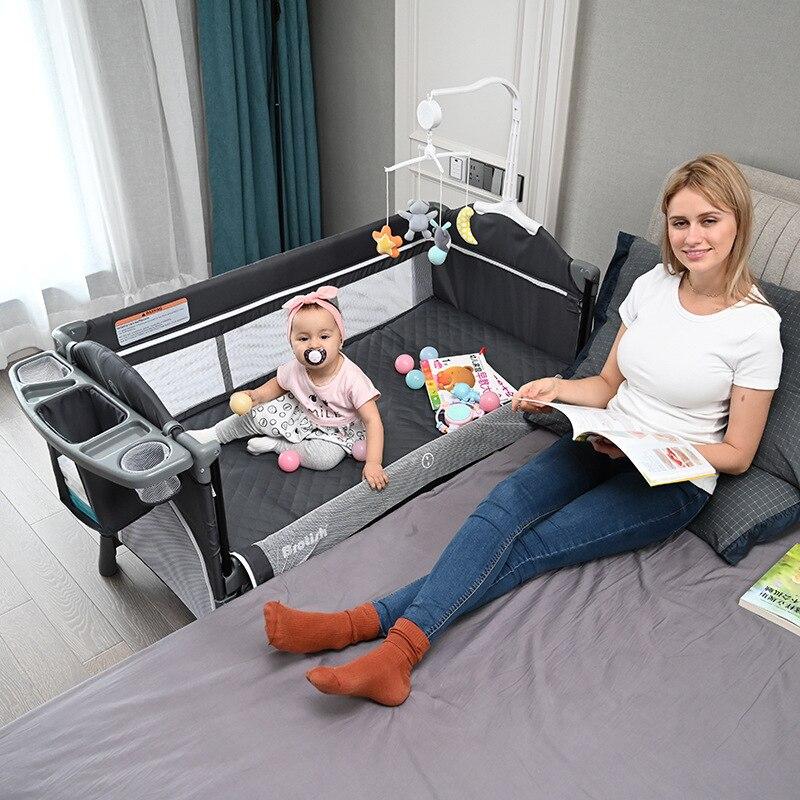 European Folding Crib Splicing Big Child Bb Multi-function Portable Newborn Baby Cradle Bed