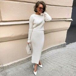 Jersey de Cachemira tejido y falda larga, conjunto de dos piezas para mujer, Tops recortados ajustados, ropa elegante de otoño e invierno