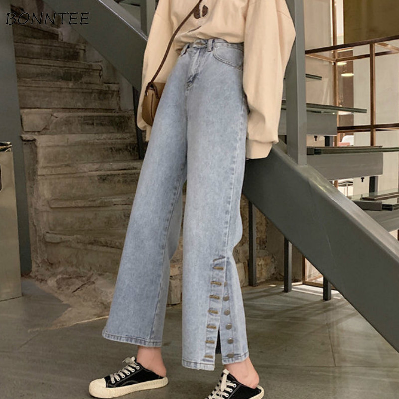Jeans Women Wide Leg Loose Pockets Zipper High Waist Irregular Denim BF Korean New Chic Fashion Trousers Womens Daily Streetwear
