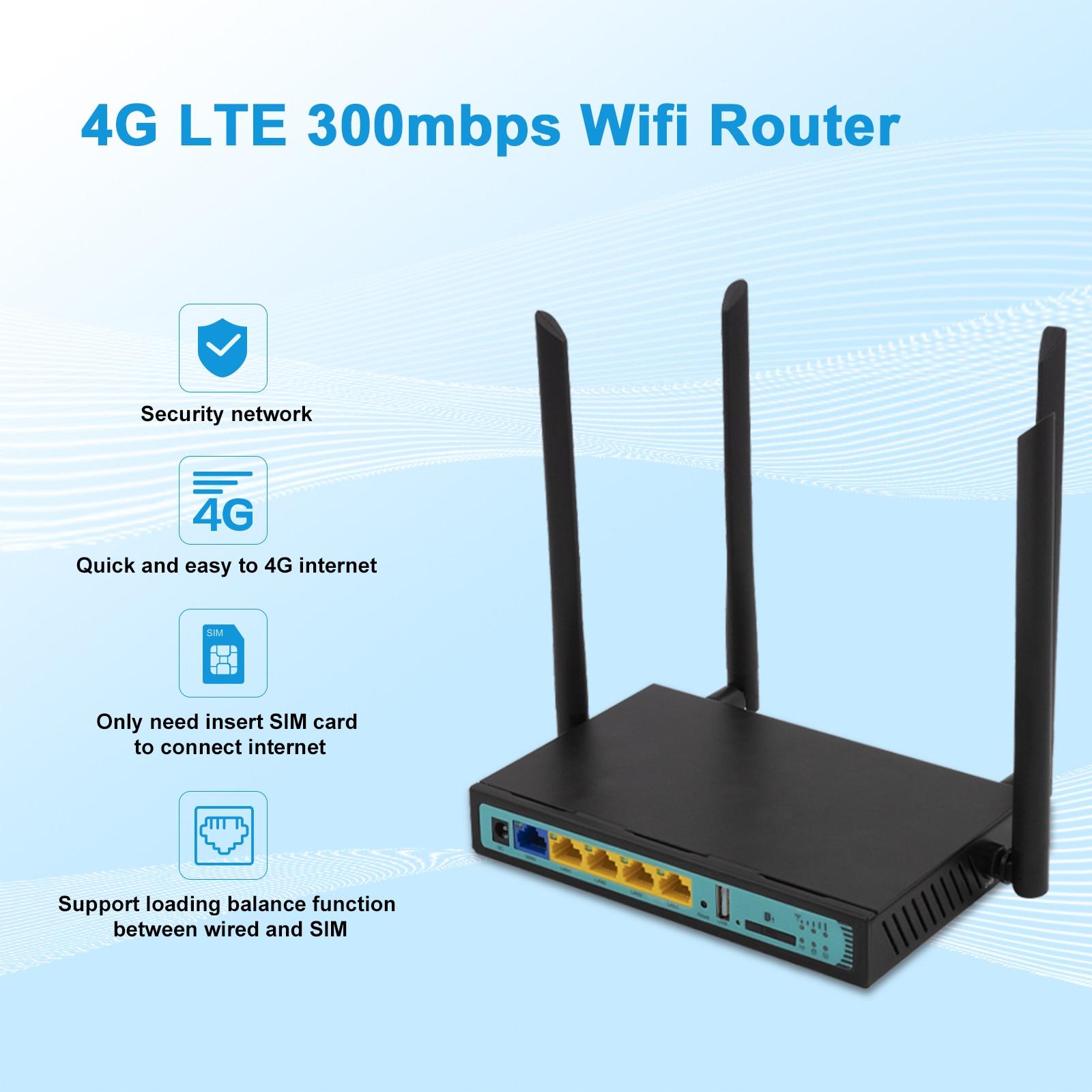 4G Wi-Fi Router 5Port Router With SIM Card USB WAP2 802.11n/u/b/g 300Mbps 2.4G Router LAN WAN 10/100M PCI-E Routet