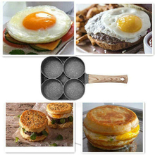 Pans 4 Hole Fried Egg Burger Pan Non-stick Ham Pancake Maker Wooden Handle Suitable For Gas Stove And Induction Cooker