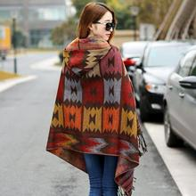 Fashion Women Winter Scarf Long Cashmere Wool Soft Warm Wrap Shawl Bohemian Hooded Coat Cape Fringe