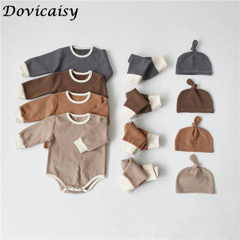 Baby Clothing Sets New Winter Newborn Baby Clothes Suits Casual striped romper +Pants + hat 3 pcs Children Outfits