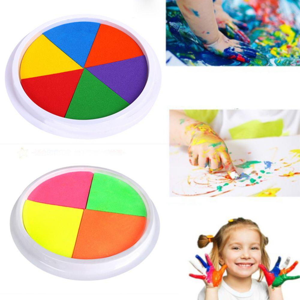 Funny 6 Or 4 Colors Ink Pad Stamp DIY Palm Graffiti Finger Painting Craft Cardmaking For Kids Montessori Drawing Baby Toys Kids