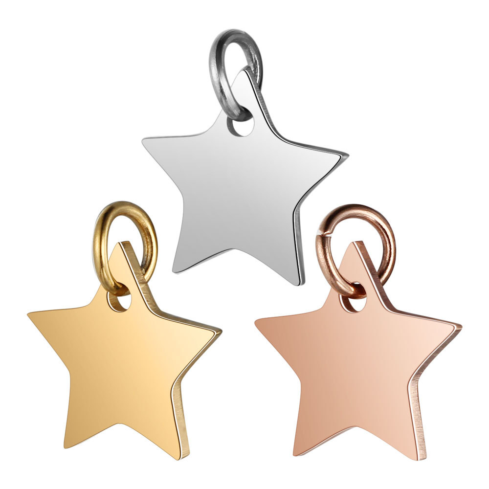 Yanqi Stainless Steel Pentagram Star Charms Pendant For Jewelry Making Findings Accessories DIY Necklaces&Bracelets Wholesale