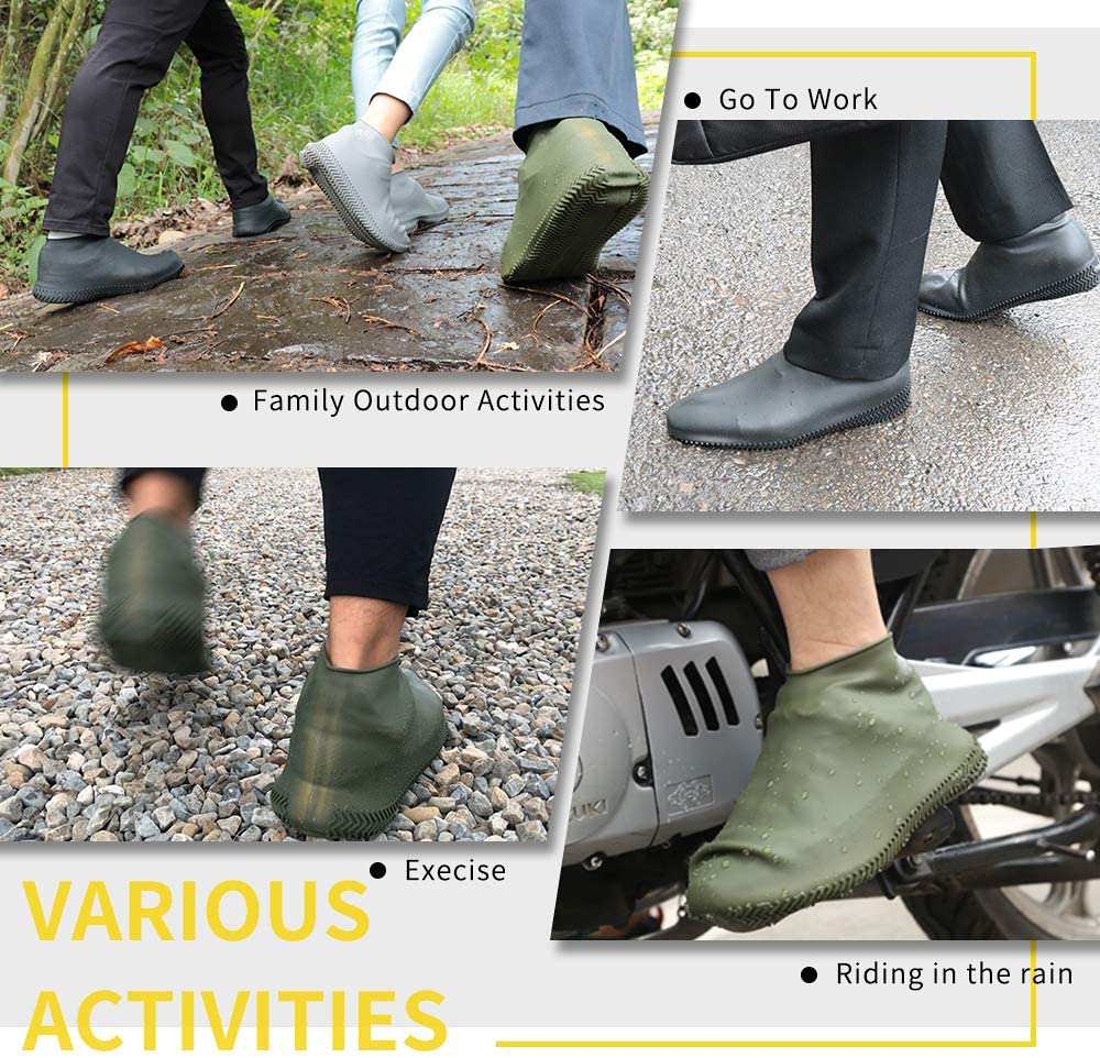 Waterproof Shoes Covers Environmental Protection Reusable Anti-Slip Motorcycle Rain Boot Soft Cover Silicone Elastic-4