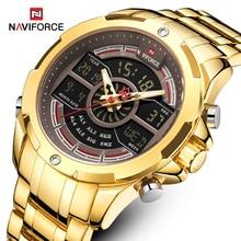 New NAVIFORCE Gold Men Watch Waterproof Sports Mens Quartz Wrist Watch Digital Male Top Brand Luxury Clock Relogio Masculino