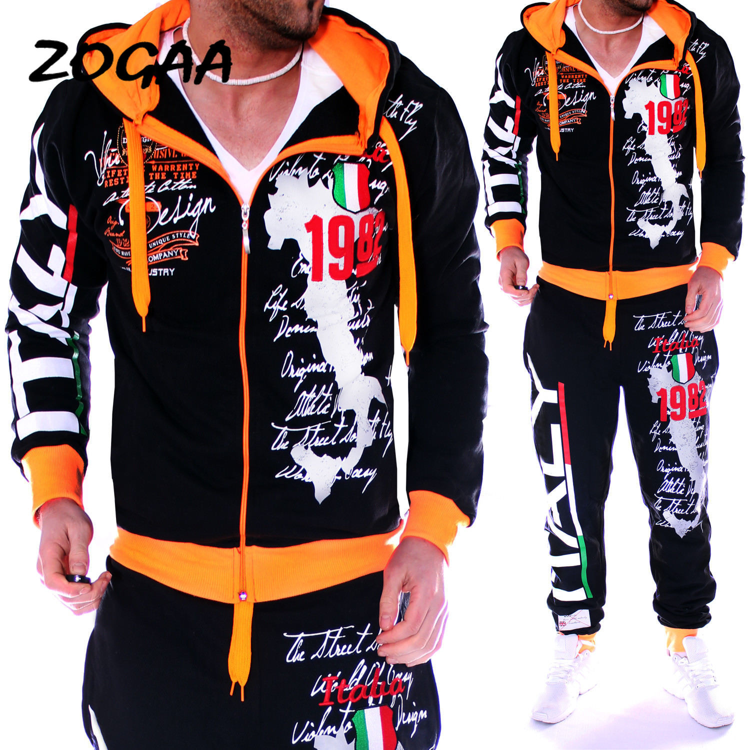 ZOGAA Spring Autumn Hoodie Sweater Jacket+joger Sweatpants Man Printing Suits 2PCS Tracksuit Men Casual Patchwork Sportwear Set