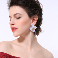 2019 Three-tone Flowers Drop Earrings For Women Gold Color Circle Earrings Fashion Jewelry Accessories two tone round drop earrings