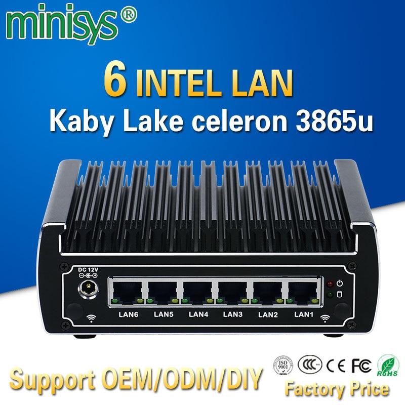 Minisys In Stock Intel Celeron 3865u Pfsense Mini PC Dual Core 6 Lan Port Advanced Fanless Linux Firewall Router Support AES-NI
