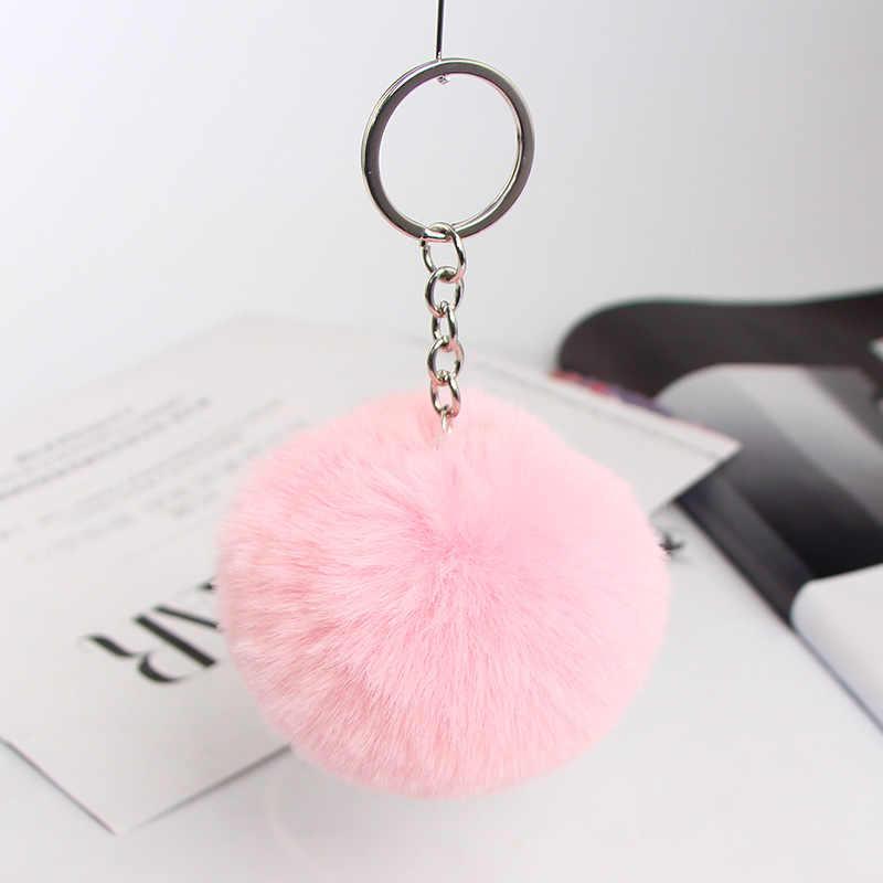 Coelho macio bola chaveiro bonito creme pompom pele de coelho artificial chaveiro pingente de pele de coelho chave de jóias feminino carro saco anel diy