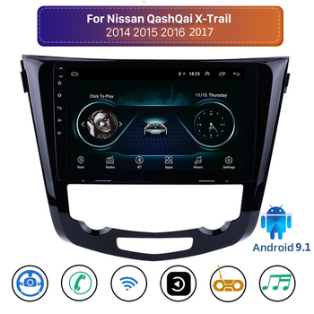 10.1 Android 9.1 2din Car Radio GPS Navigation Multimedia Player Stereo for Nissan X-Trail Qashqai 2014 -2017 Quad core wifi FM image