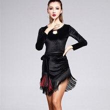 Женское латинское платье с длинными рукавами для девочек, черный бархат, отделанный бахромой латинский бальный костюм Танго, Современная Румба ча-ча, сальса, кисточкой, танцевальный костюм
