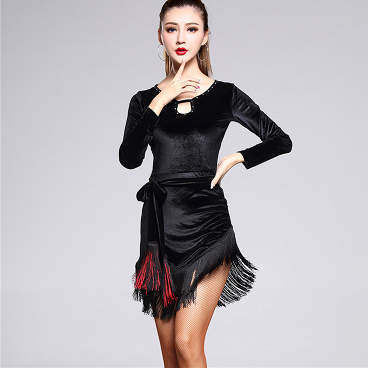Women Long-sleeved Latin Dress Girls Black Velvet Fringed Latin Ballroom Tango Modern Rumba Cha Cha Salsa Tassel Dance Costume