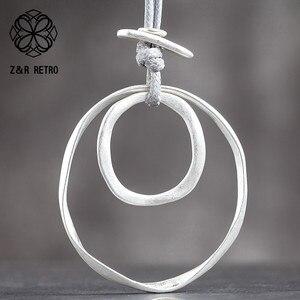 Золотое серебряное простое круглое модное ожерелье без воротника женские ювелирные изделия кулон ювелирные изделия длинное ожерелье на Де...