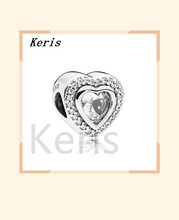 100% 925 sterling silver 1:1 new 797608cz sparkling love sparkling heart charm frizzy original jewels