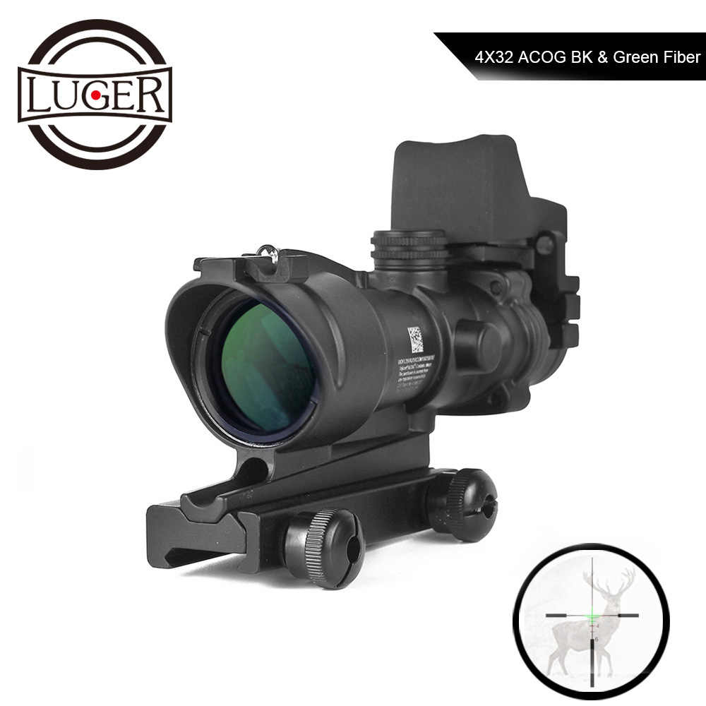 Luger ACOG 4X32 Nyata Serat Optik Sight Glass Terukir Reticle Berburu Riflescope Rmr Red Dot Sight Taktis Optik Lingkup Senapan