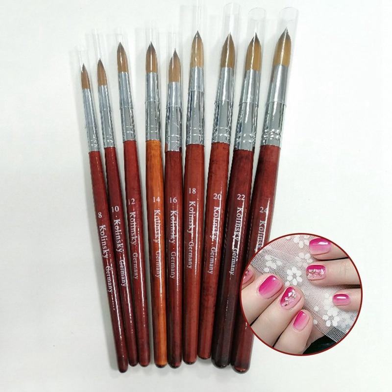 100% Kolinsky Sable Acrylic Brush Crimped UV Poly Gel Brush Gel Builder Manicure Brush Flat Round Red Wood Nail Brush Hot