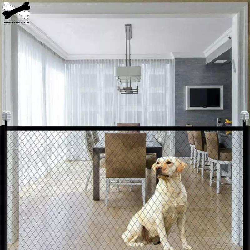 Портативный складной сетчатый забор для собак, защитные ворота для детей, аксессуары для домашних животных, устанавливается в любом месте, ...
