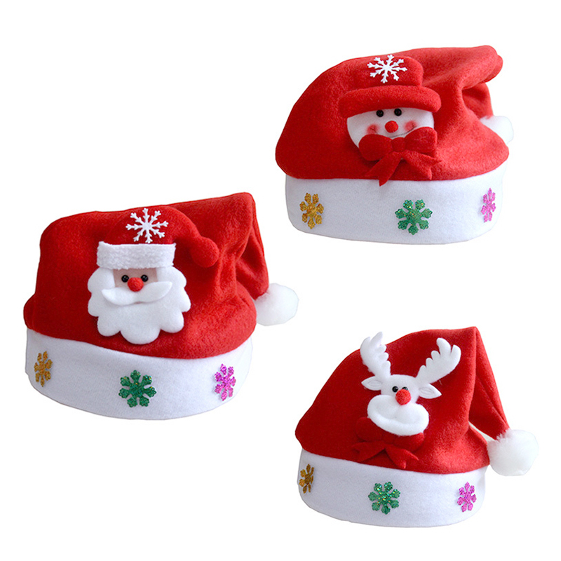 1pc New Christmas Hats Adults Kids Children Costume Santa Claus Snowman Reindeer Festival Hat Ornament For Navidad New Year Gift