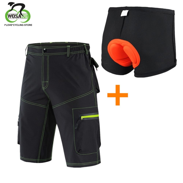 WOSAWE Men's Cycling Shorts Mountain Bike MTB Shorts For Outdoor Sports Loose Fit Camping Bicycle Running Riding Downhill Shorts