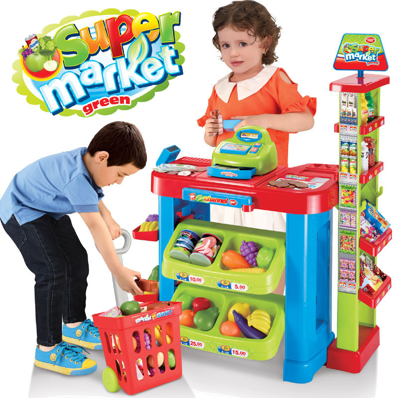 Children's Pretend Play Toy Market Table Cooking Food Fruit Lighting Sound Effect Gift Shopping Cart Cashier Register Toy