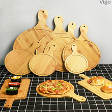 Bamboo Wood Pizza Tray Household Baking Plate Steak Plate Bread Cake Rectangular Plate 8 / 9 / 10 Inch Pizza Shovel Pizza Cutter