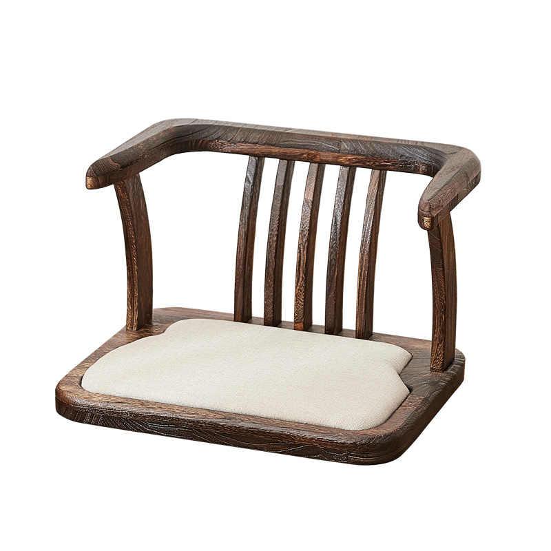 chaise de sol en bois massif de style japonais siege avec coussin de siege tatami zaisu