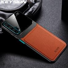KEYSION Leder Fall für Huawei Mate 30 20 Pro P30 P20 Lite P Samrt Y7 Y9 2019 Glas Telefon Zurück abdeckung Für Honor 20 Pro 10i 8X 9X