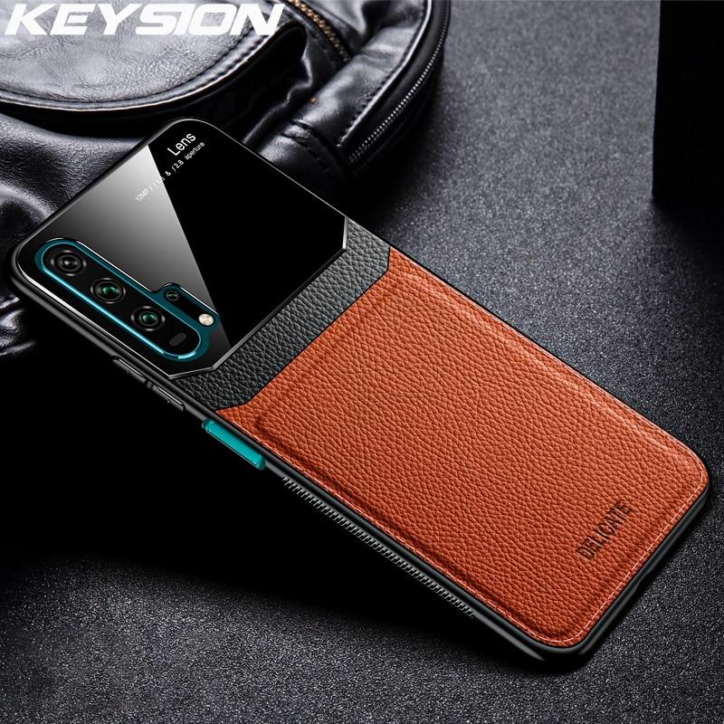 KEYSION Leder Fall für Huawei Mate 30 20 Pro P30 P20 Lite P Samrt Y7 Y9 2019 Glas Telefon Zurück abdeckung Für Honor 20 Pro 10i 8X 9X|Handy-Stoßdämpfer|   -