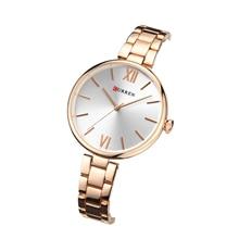 цена на CURREN Woman's Watch Trendy Ladies' Gifts New Fashion Simple Elegant Wristwatch Quartz Rose Gold Stainless Steel Bayan Kol Saati