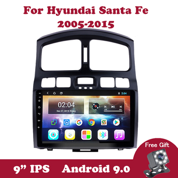 Android 9.0 IPS 2 Din Car Multimedia Player For Hyundai Classic Santa Fe 2005-2015 Autoradio Head Unit Support Steering wheel image