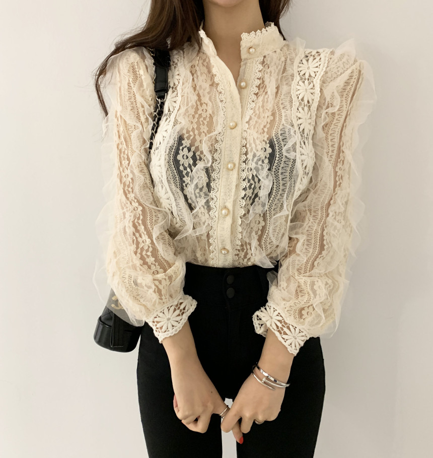 Alien Kitty New Arrival Ladies Lace Shirt Hook Flower Long Sleeve Loose Stand Collar Blouse Shirts Women Fashion Crochet Tops