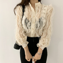 Alien Kitty New Arrival Ladies Lace Shirt Hook Flower Long Sleeve Loose Stand Co