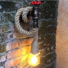 American Water Pipe Wall Lamp Industrial Adjustable Hemp Rope Wall Lamp Decorative Wall Sconce for Restaurant Bar Aisle E27 Base three bulbs wooden base decoration water pipe desk lamp used for restaurant cafe bar bedroom